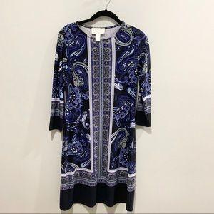 Blue Paisley Patterned Dress Size 0